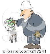 Royalty Free RF Clipart Illustration Of A Caucasian Worker Man With An Open First Aid Kit by djart