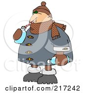 Royalty Free RF Clipart Illustration Of A Winter Man Drinking Water With A Straw From A Bottle by djart