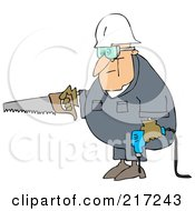 Caucasian Worker Man Carrying A Saw And Drill