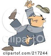 Caucasian Worker Man Falling Backwards