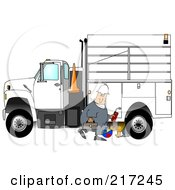 Caucasian Worker Man Walking By A Utility Truck As A Boy Plays Underneath
