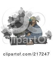 Caucasian Worker Man Sitting On And Cutting A Pipe