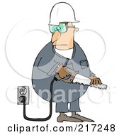 Royalty Free RF Clipart Illustration Of A Caucasian Worker Man Holding A Power Saw