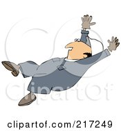 Caucasian Worker Man Slipping And Falling Backwards