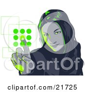 Young Woman Entering Her Security Code Into A Keypad Green Tones