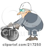 Royalty Free RF Clipart Illustration Of A Caucasian Worker Man Using A Hacksaw To Cut A Pipe by djart