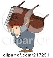 Royalty Free RF Clipart Illustration Of A Caucasian Worker Man Carrying A Piano On His Back by djart