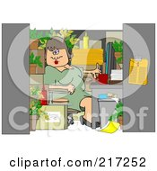Royalty Free RF Clipart Illustration Of A Chubby Woman Working In A Cluttered Cubicle