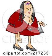 Royalty Free RF Clipart Illustration Of A Scraggly Woman In A Red Dress