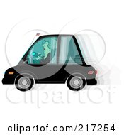 Royalty Free RF Clipart Illustration Of A Woman Text Messaging While Driving Her Car