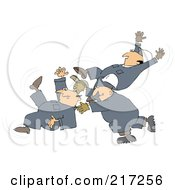 Royalty Free RF Clipart Illustration Of Three Caucasian Worker Men Slipping And Falling