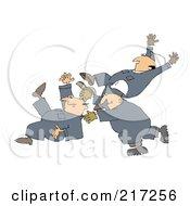 Three Caucasian Worker Men Slipping And Falling