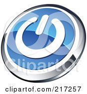 Shiny Blue White And Chrome Power App Icon Button