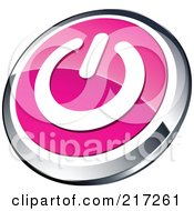 Shiny Pink White And Chrome Power App Icon Button