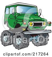 Royalty Free RF Clipart Illustration Of A Green 4x4 Cruiser Vehicle With Big Tires by Dennis Holmes Designs