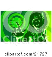 Clipart Picture Illustration Of A Woman Glancing Up And Entering Her Security Code Into A Keypad In Green Tones by Tonis Pan