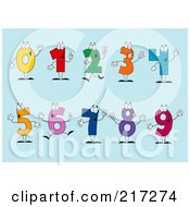 Royalty Free RF Clipart Illustration Of A Digital Collage Of Colorful Number Characters On A Blue Background by Hit Toon