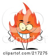 Royalty Free RF Clipart Illustration Of An Evil Grinning Flame Character