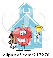 Royalty Free RF Clipart Illustration Of A Red Apple Ringing A Bell By A School House