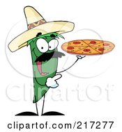 Green Pepper Character Holding A Pizza