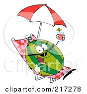 Royalty Free RF Clipart Illustration Of A Happy Watermelon Holding Up A Cocktail And Sun Bathing
