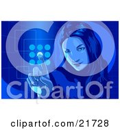 Clipart Picture Illustration Of A Young Woman Entering Her Security Code Into A Keypad Blue Tones by Tonis Pan