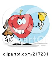 Royalty Free RF Clipart Illustration Of A Happy School Apple Ringing A Bell