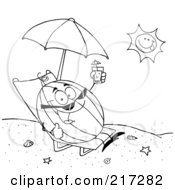 Royalty Free RF Clipart Illustration Of An Outlined Watermelon Holding Up A Beverage And Sun Bathing On The Coast