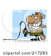 Royalty Free RF Clipart Illustration Of A Mean Black Boss Holding A Whip In His Hand And Smoking A Cigar