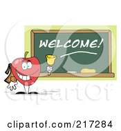 Royalty Free RF Clipart Illustration Of A Red School Apple Ringing A Bell By A Welcome Chalk Board