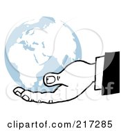 Black And White Hand Holding A Blue Globe