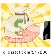 Royalty Free RF Clipart Illustration Of A Caucasian Hand Holding A Money Bag On A Burst Background