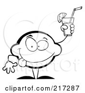 Outlined Lemon Character Holding Up A Glas Of Lemonade