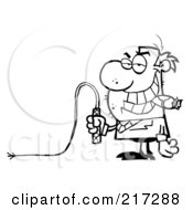 Royalty Free RF Clipart Illustration Of An Outlined Boss Holding A Whip In His Hand And Smoking A Cigar