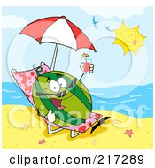 Royalty Free RF Clipart Illustration Of A Happy Watermelon Holding Up A Beverage And Sun Bathing On A Beach