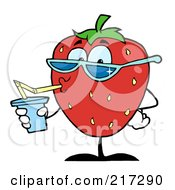 Royalty Free RF Clipart Illustration Of A Thirsty Strawberry Drinking Juice And Wearing Shades by Hit Toon