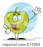 Royalty Free RF Clipart Illustration Of A Waving Green Apple Character by Hit Toon