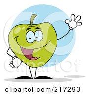 Waving Green Apple Character