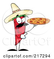 Royalty Free RF Clipart Illustration Of A Red Pepper Character Holding A Pizza