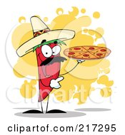 Royalty Free RF Clipart Illustration Of A Red Pepper Character Holding A Pizza Over Orange Splatters