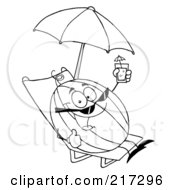 Royalty Free RF Clipart Illustration Of An Outlined Watermelon Holding Up A Beverage And Sun Bathing On A Beach