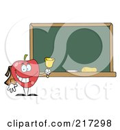 Royalty Free RF Clipart Illustration Of A School Apple Ringing A Bell By A Chalk Board