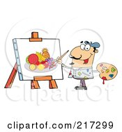 Royalty Free RF Clipart Illustration Of A Man Painting A Still Life Of Fruit On Canvas by Hit Toon