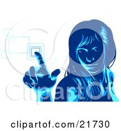 Blue Woman Glancing Up And Entering Her Security Code Into A Keypad Over White