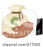 Royalty Free RF Clipart Illustration Of A Black Hand Holding A Sack Of Money