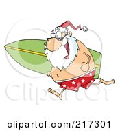 Royalty Free RF Clipart Illustration Of Santa In Shorts Running With A Surfboard
