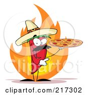 Royalty Free RF Clipart Illustration Of A Red Pepper Character Holding A Pizza Over Flames