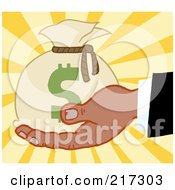 Royalty Free RF Clipart Illustration Of A Black Hand Holding A Money Bag On A Burst Background