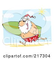 Royalty Free RF Clipart Illustration Of Santa Running On A Beach With A Surfboard