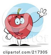 Royalty Free RF Clipart Illustration Of A Waving Red Apple Character